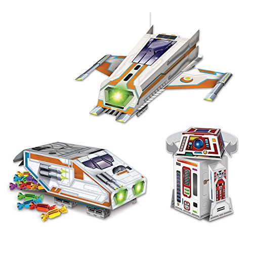 J&J's ToyScape Large Space Themed Party Decorations Set Includes Spaceships, Space Crafts & Robot Gifts for Kids Birthday, Baby Shower, Table Treat Candy Server Boxes, Party Supply]()