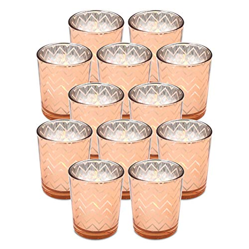 Glass Votive Candle Holders Bulk - 2.6 Inches Height Tealight Candle Holder Set of 12, Rose Gold, Geometric- For Tea Lights, Parties, Wedding Decor Spa, Aromatherapy and Home Décor