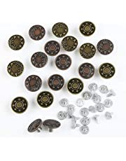 Naler Jeans knopen set broekknopen van metaal naaivrije knop vervangknop jeansknop met klinknagel sluiting metalen knopen, 2 designs, brons & koper kleur (20 stuks, diameter 17 mm)