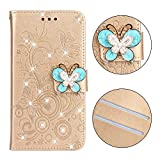 Cfrau Diamond Case with Black Stylus for iPhone X,Luxury Magnetic Crystal 3D Handmade Butterfly Flower Bling Stand Wallet PU Leather Shockproof Case for iPhone X/XS,Gold