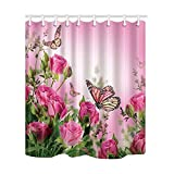 """SZDR Shower Curtain Bedroom Curtain Flower Series Roses and Butterflies Polyester Fabric Shower Curtain 69""""x70""""inches Bathroom Curtain Hook"""