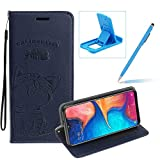 Strap Leather Case for Galaxy A70,Dark Blue Wallet Flip Case for Galaxy A70,Herzzer Elegant Classic Solid Color Magnetic Cute Fish Cat Printed Stand PU Leather Case with Soft TPU