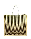 extra tall tote - Extra Large Eco-friendly Chevron Print Natural Coated Jute Beach Bag Tote