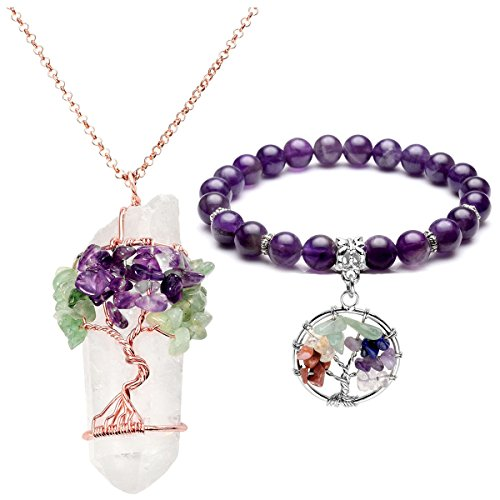 Top Plaza Natural Clear Rock Quartz Healing Crystal Tree of Life Wire Wrap Tumbled Amethyst Aventurine Chip Stones Pendant Necklace 7 Chakra Bracelet Jewelry ()
