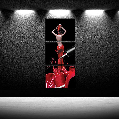 iKNOW FOTO 3 Piece Canvas Wall Art Fashion Woman Nails Pictures Beauty Salon Manicure Poster Giclee Prints Framed Artwork Black Art Paintings for Spa Bathroom Makeup Dressing Room Decor 12x16inchx3pcs