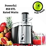 Gourmia GJ-750 Wide Mouth Fruit and Vegetable Centrifugal Juicer Juice Extractor with Multiple Settings, Stainless Steel, 850W, Silver/Black