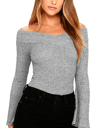 Miageek Women Long Bell Sleeve Off Shoulder V-neck Ribbed Knit Sweater Shirts Pullover Tops