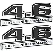 "4.6 Liter High Performance Engine Emblems in Chrome & Black - 5"" Long Pair"