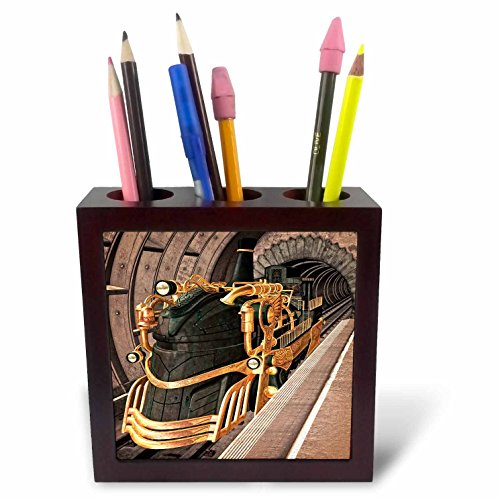 3dRose A Steampunk Train Station Tile Pen Holder, 5