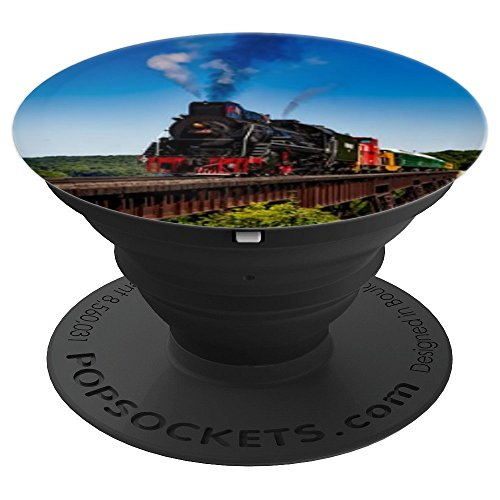 Colorful Steam Train Locomotive Background Steam Engine Rail - PopSockets Grip and Stand for Phones and Tablets (Telephone Locomotive)