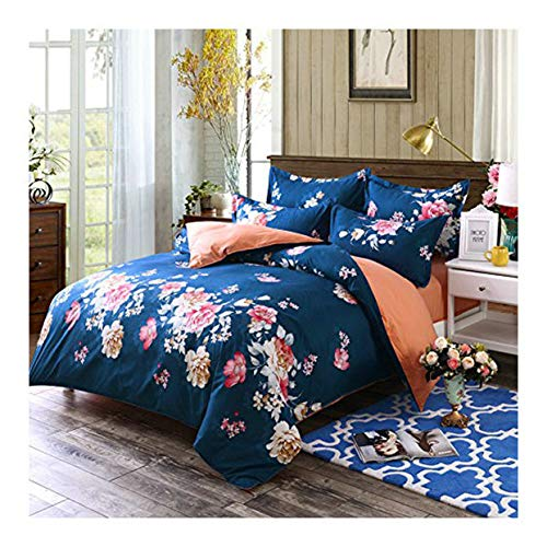 NOVA Bed Set 4pcs Flower Design Combined Cotton Duvet Cover Set No Comforter Flat Sheet Pillowcases King Sheets Set 86