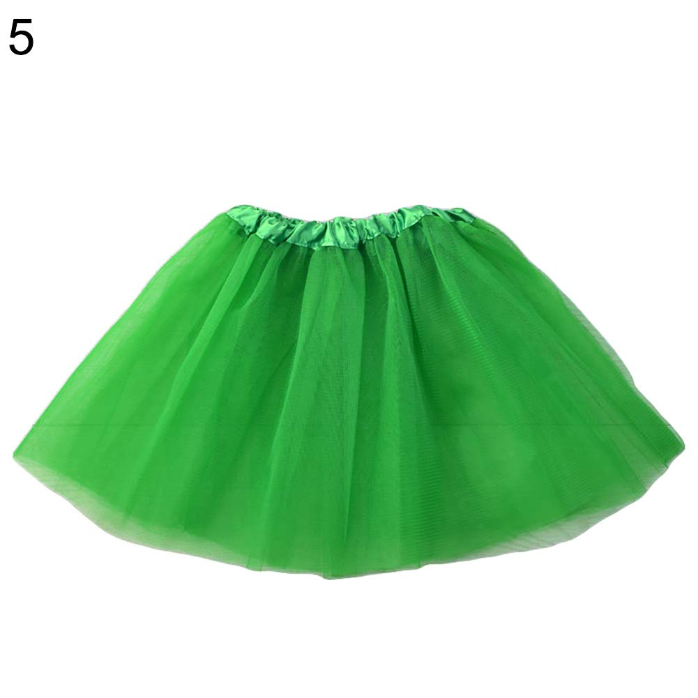 Finance Plan 3 Layer Children Kids Girls Elastic Band Gauze Dance Ballet Princess Tutu Skirt Green