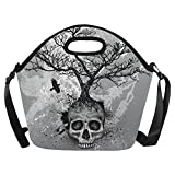 InterestPrint Creative Skull Tree Insulated Lunch Tote Bag Reusable Neoprene Cooler 15.04'' x 14.21'' x 6.69'', Day of the Dead Portable Lunchbox Handbag with Shoulder Strap