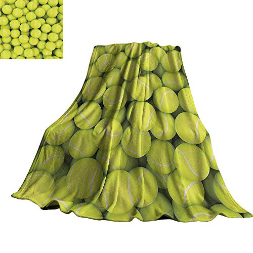 WinfreyDecor Sports Decor Collection Decorative Throw Blanket Heap of Tennis Balls Hobby Happiness Leisure Competitive Match Lifestyle Picture Pattern 60