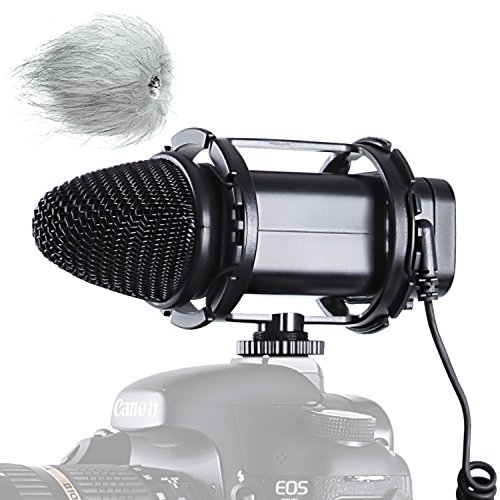 Camera Mount Stereo Condenser Microphone (BOYA BY-V02 Camera Stereo Condensor Microphone for DSLR Canon 5D2 5D Mark III 6D 600D Nikon D800 D800E D810 D600 D300 D7000 Camcorder Audio Recorders)