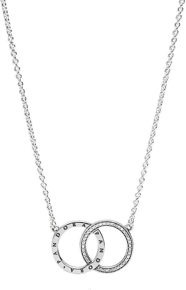 Amazon Com Pandora Circles Necklace Clear Cz Adjustable Sizes 396235cz 45 Centimeters 17 7 Inches Jewelry