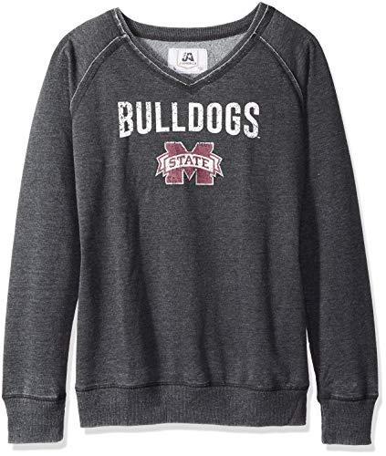 J America NCAA Mississippi State Bulldogs Women's Achieve Fleece Crew Sweatshirt, Medium, -