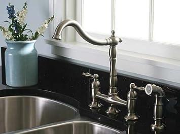 premier brushed nickel 4 bridge kitchen faucet with sprayer