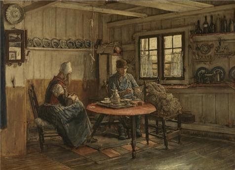 'Xavier Mellery,Interior In Marken,1845-1921' Oil Painting, 10x14 Inch / 25x35 Cm ,printed On High Quality Polyster Canvas ,this Amazing Art Decorative Canvas Prints Is Perfectly Suitalbe For Game Room Artwork And Home Artwork And Gifts