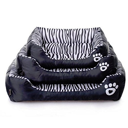 Hot Fashion Dog Beds Zebra Print Pets House Cartoon Style Puppy Dogs Beds for Small Larger Pets Cats House (M(584514cm)) by Unknown