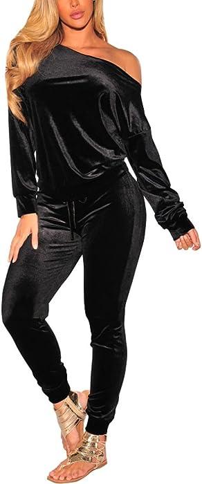 Women s 2 PC Outfits Velour Tracksuit Matching Sweatsuit Jogging Pant Set  Black S 2a95e850860c