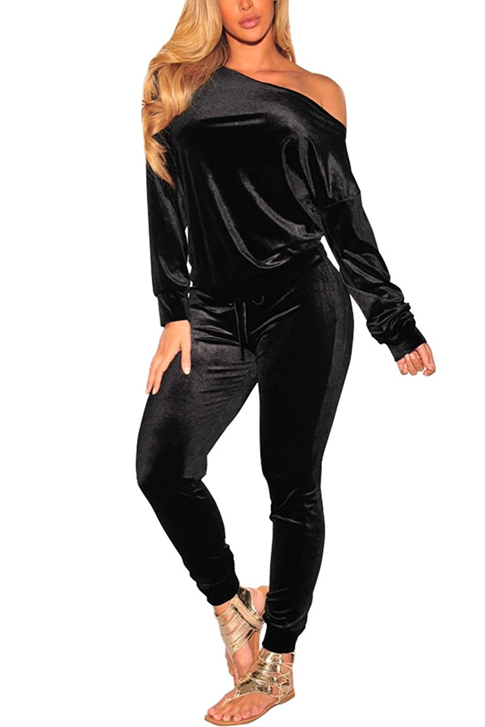 1943066414dd Women Velvet Off Shoulder Sweatshirt Jogger Pants Two Piece Set Tracksuit