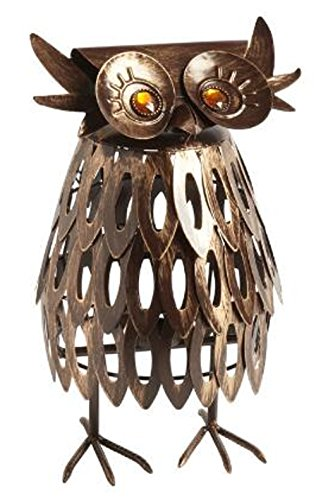 Handcrafted Brushed Brassy Metal Owl Tealight Candle Holder