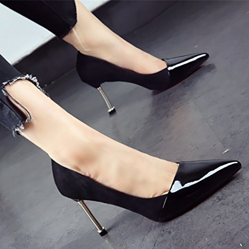 Spring Shallow Black Heel Heels Color Lady Mouth Metal Head MDRW Leisure Fine 37 Single Career 9Cm Sharp Work Shoes Sexy Women Elegant Stitching Shoes I0nSxBqCwA