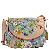 Anuschka Handpainted Leather Large Flap-Over Convertible,Japanese Garden