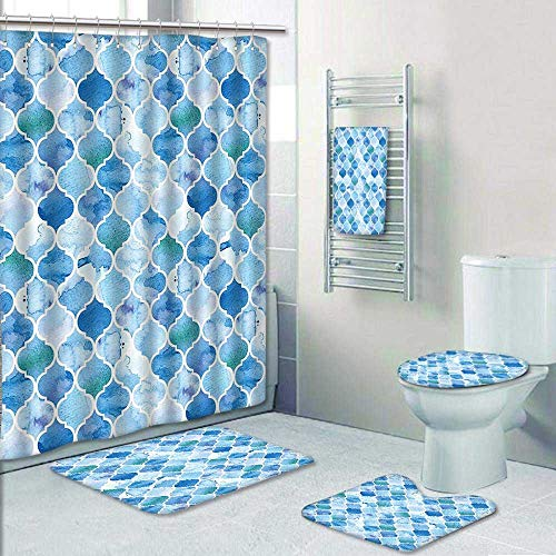 5 Piece Bath Rug Set,Arabic Mosaic Pattern in Watercolor Paint Retro Style Islamic Artwork Light Blue Print Bathroom Rugs Shower Curtain/Rings and Both Towels by AmaPark