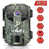 WiMiUS Fotocamera da Caccia, Trail Camera 16MP 1080P IP66 Impermeabile con 40pcs IR LED 940nm Invisibile, Telecamera per Animali Selvatici Visione Notturna Fino a 20m / 65 Piedi, Accessori Multipli
