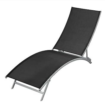 vidaXL Chaise Longue de Jardin Plage Bain de Soleil Transat Textilène Noir b925130976a7