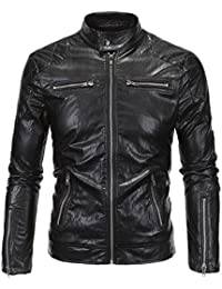 Neleus Men's Classic Leather Motorcycle Jacket