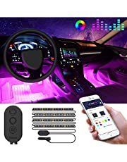 MINGER Car Interior Lights with APP Control, Waterproof RGB Strip Lighting with Controller and Car Charger, 7 Colors Sound Activation, One-Line Design for Easy Install and Hiding