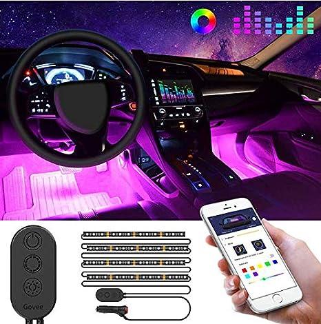 Govee Unifilar Car LED Strip Light, MINGER APP Controller Car Interior Lights, Waterproof Multicolor Music Under Dash Lighting Kits for iPhone Android Smart Phone, Car Charger Included, DC 12V