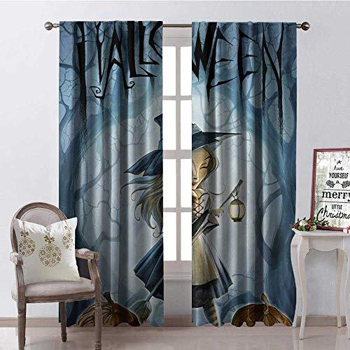 Hengshu Halloween Witch Pumpk Lantern Room Darkening Wide Curtains Decor Curtains by W72 x L84 ()