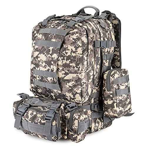 Flexzion 3-in-1 Tactical Backpack (Arctic Camo) 55L Large Army Assault Pack w/Detachable Shoulder Messenger Bag 2 Side Packs, MOLLE Gear Attachment System, Bug-Out Bag Daypack Rucksack for Outdoors