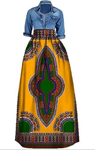 Bigyonger Womens African Floral Maxi Skirt Plus Size High Waist A Line Long Skirts (2 Yellow, XXXX-Large)