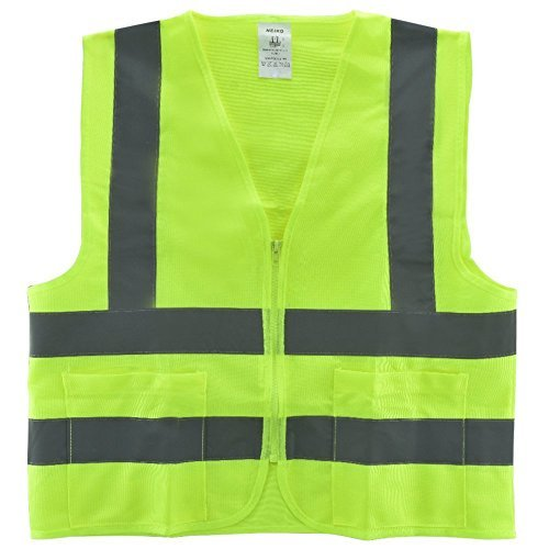 Neiko 53961A High Visibility Neon Green Safety Vest with Reflective Strips and Mesh Fabric and Pockets, ANSI/ISEA Standard | Size M | 2 Pack