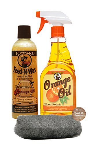 Howard Feed-N-Wax Wood Preserver 16 Ounce and Howard Orange Oil Restorative Wood Polish 16 Ounce, Wood Furniture Cleaner and Antique Furniture Restoration (Antiques Products)