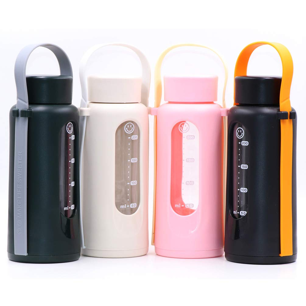 Disen Dark Glass Water Bottles Wide Mouth BPA-Free Borosilicate Glass Drinking Bottle Markings Measurements Glass Canteen Leak Proof Beverage Milk Containers
