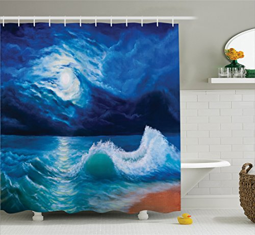Photo Moonlight (Ambesonne Ocean Decor Shower Curtain Set, Moonlight Over Wavy Sea Dramatic Sky Beach Landscape Picture in Oil Painting Effect, Bathroom Accessories, 84 inches Extralong, Navy White)