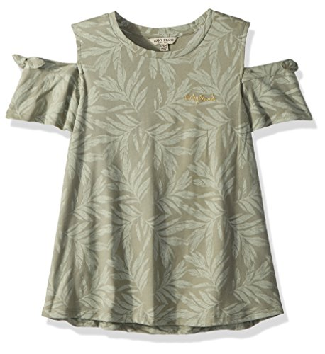 Lucky Brand Girls' Big Short Sleeve Fashion Top, sea Grass Hyacinth, Large (12/14) by Lucky Brand