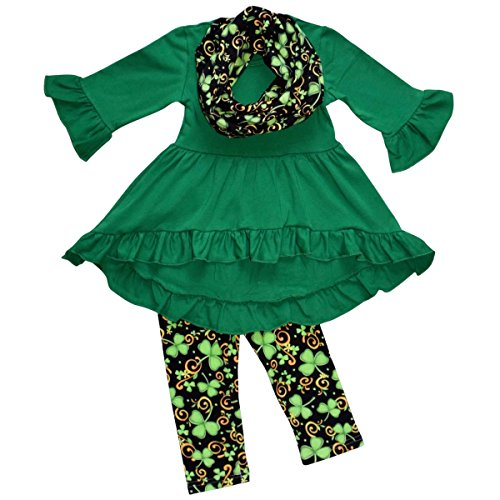 Unique Baby Girls St Patrick's Day Luck of the Irish Legging Set (4T/M, Green), St Patrick's Day clothing, holiday, style, Irish, fashion, baby, kids