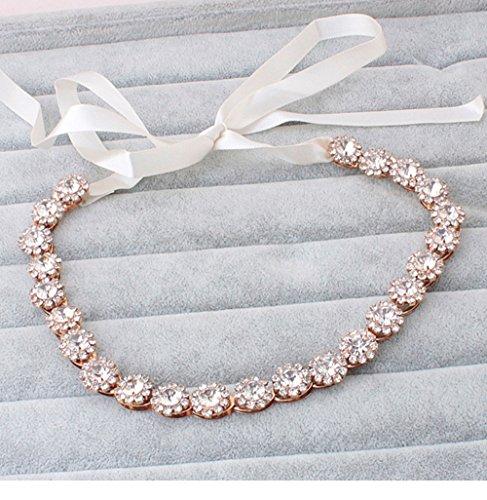 Stardream Rose (Crystal Rhinestone Wedding Bridal Rose Gold Headband Hair Hairpiece with Ivory Ribbon)