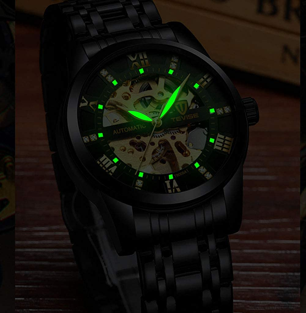 TXGIRWAO Orologio da polso meccanico automatico da uomo, cinturino in acciaio inossidabile, orologio da polso impermeabile impermeabile con tourbillon vuoto 9005a-belt All Black