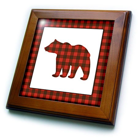 3dRose Janna Salak Designs Woodland Creatures - Buffalo Plaid Bear - 8x8 Framed Tile (ft_254595_1)