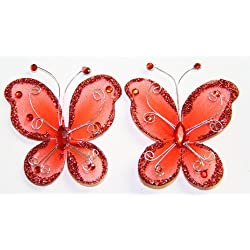 "Gift Square 2"" Organza Butterfly Clip Wedding Favor 20 Pack - Red"