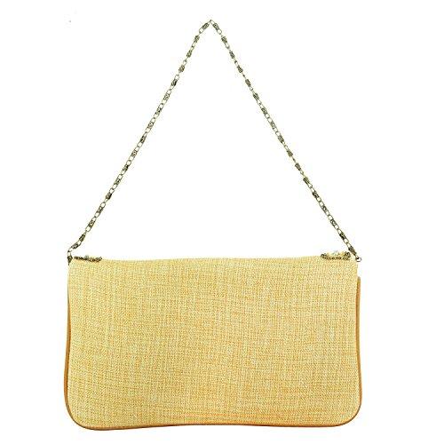 FOR-U - Cartera de mano de Material Sintético para mujer Amarillo Yellow Golden M