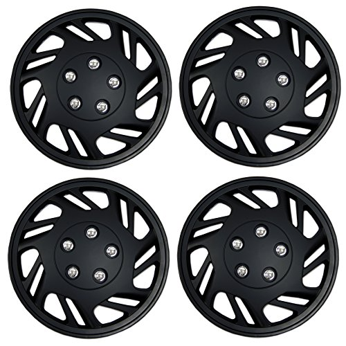 - TuningPros WSC3-126B15 4pcs Set Snap-On Type (Pop-On) 15-Inches Matte Black Hubcaps Wheel Cover